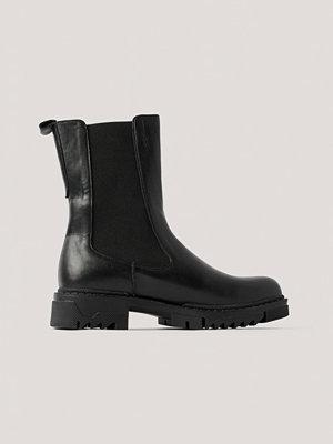 NA-KD Shoes Ankelboots I Läder svart