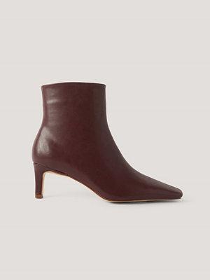 NA-KD Shoes Ankelboots Med Fyrkantig, Lång Tå burgundy