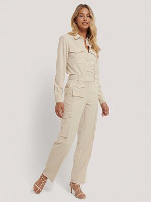 NA-KD Trend omönstrade byxor Kostymbyxa Med Fickor beige