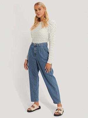 Mango Croppade Jeans Med Hög Midja blå