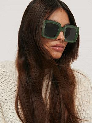 NA-KD Accessories Stora Retro Fyrkantiga Solglasögon grön