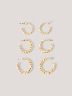 NA-KD Accessories smycke 3-Pack Tjocka Hoops guld