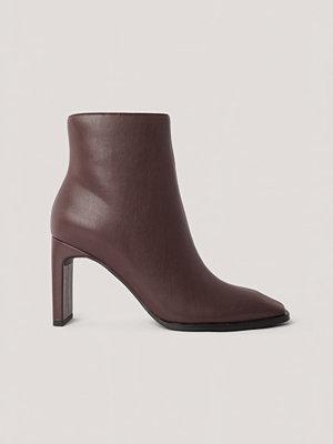 NA-KD Shoes Boots Med Fyrkantig, Lutande Tå brun