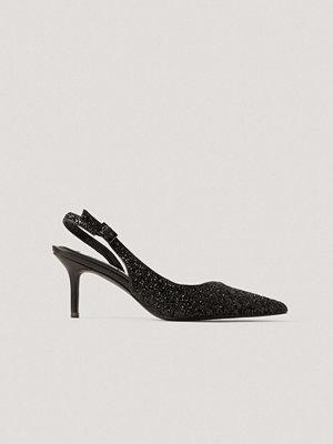 NA-KD Shoes Glittriga, Spetsiga Slingbackpumps svart