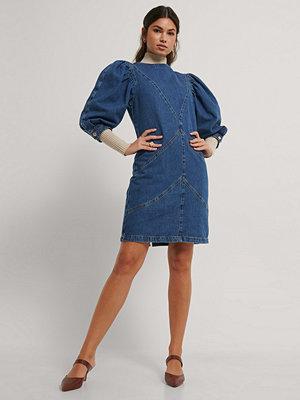 NA-KD Trend Denimklänning Med Puffärm blå
