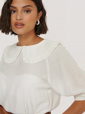 NA-KD Boho Big Collar Blouse vit