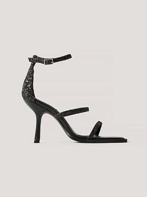 Pumps & klackskor - NA-KD Shoes Glittriga Högklackade Sandaler svart
