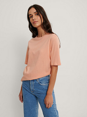 NA-KD Basic T-Shirt Med Hög, Rund Halsringning orange
