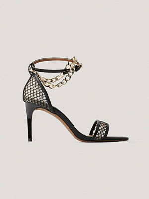 NA-KD Shoes Högklackade I Mesh Med Kedjedetalj svart
