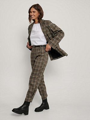 NA-KD Trend Rutiga, Ankellånga Kostymbyxor brun