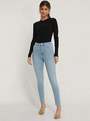 NA-KD Ekologiska Skinny Jeans Med Hög Midja blå