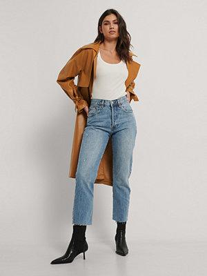 Jeans - Mango Raka Jeans Med Hög Midja blå