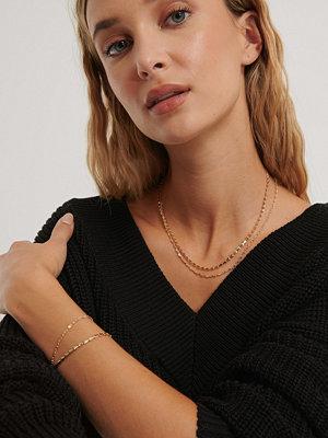 NA-KD Accessories smycke Halsband Och Armband I Dubbelhålig Kedja guld