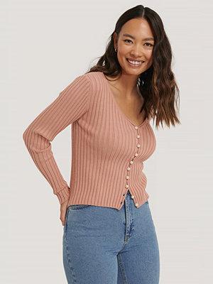 NA-KD Trend Stickad Cardigan Med Pärldetaljer rosa