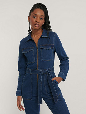 Jumpsuits & playsuits - NA-KD Trend Jumpsuit I Denim Med Dragkedjedetalj blå