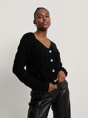 Cardigans - NA-KD Trend Glittrig Kofta Med Knappar svart