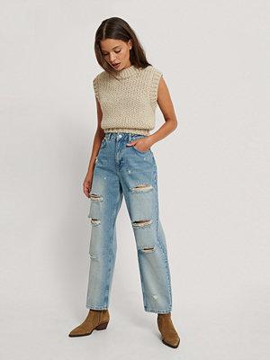 NA-KD Trend Skinny Jeans Med Hög Midja Och Slitningar blå