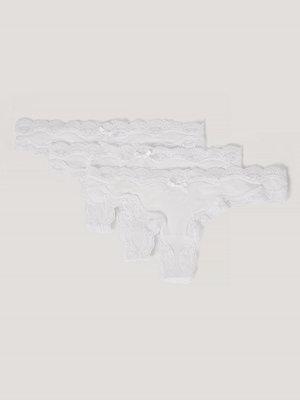 NA-KD Lingerie Micro Lace Edge Stringtrosor 3-Pack vit