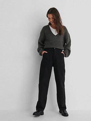 Jeans - Trendyol High Wast Straight Jeans svart
