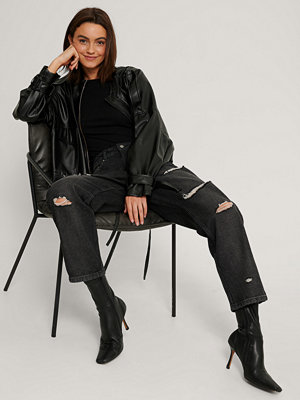 NA-KD Trend Skinny Jeans Med Hög Midja Och Slitningar svart