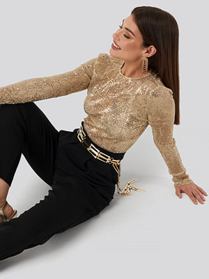NA-KD Party Sequin Round Neck Top guld