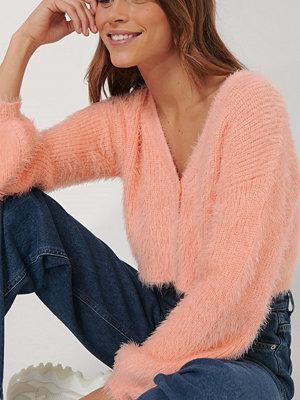 Melissa Bentsen x NA-KD Stickad Cardigan Med Ballongärm rosa