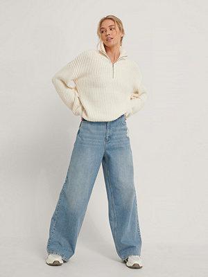 Jeans - NA-KD Reborn Ekologiska Jeans Med Sliten Fåll blå