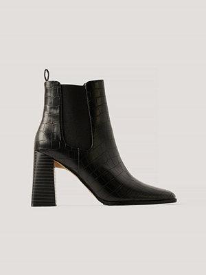 NA-KD Shoes Flared Boots Med Blockklack svart