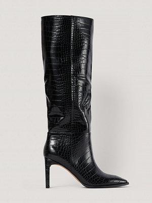 NA-KD Shoes Boots Med Fyrkantig Tå Och Vida Skaft svart