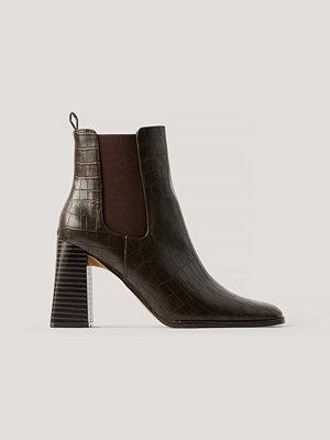 NA-KD Shoes Flared Boots Med Blockklack brun