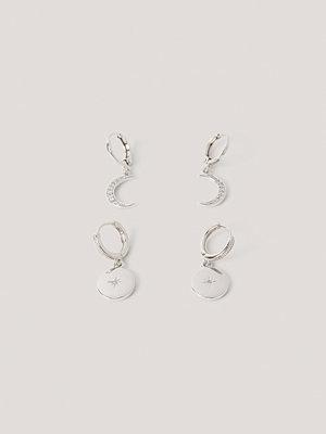 NA-KD Accessories smycke Örhängen Med Små Mån- Och Stjärnhängen silver