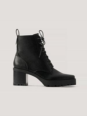 NA-KD Shoes Boots Med Snörning Och Fyrkantig Tå svart