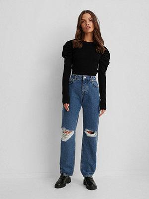 NA-KD Trend Slitna Jeans blå