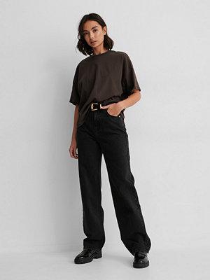 NA-KD Reborn Ekologisk Oversize T-shirt Med 3/4-ärm brun