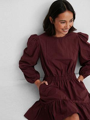 NA-KD Boho Långärmad Skjortklänning Med Elastisk Midja burgundy