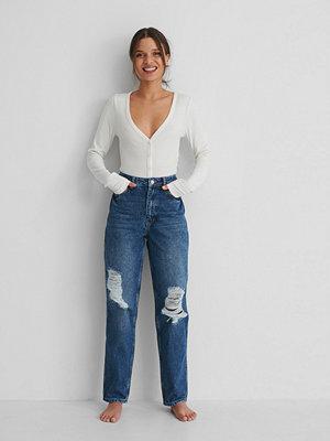 NA-KD Reborn Ekologiska Raka Jeans Med Hög Midja Och Slitningar svart