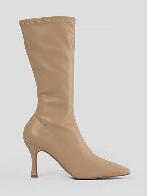 NA-KD Shoes Smala Boots Med Lång Tå beige