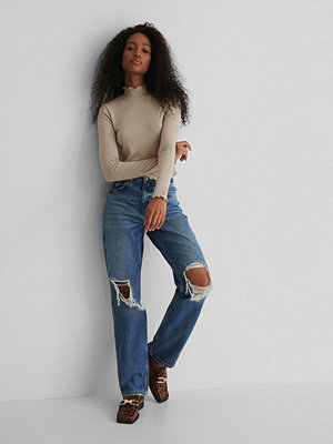 NA-KD Trend Distressed Straight Fit Jeans blå
