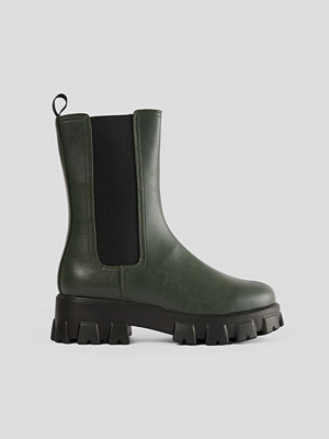 Emilie Malou x NA-KD Chunky Boots Med Gummisula grön