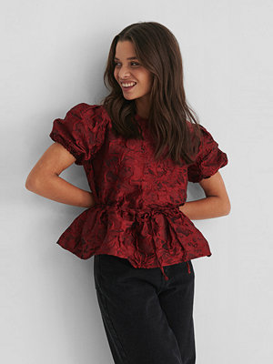NA-KD Party Structured Drawstring Top burgundy