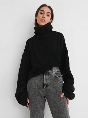 Tröjor - Trendyol Stickad, Ribbad Polotröja svart