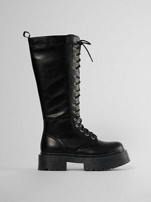NA-KD Shoes Chunky Boots Med Snörning I Skaften svart