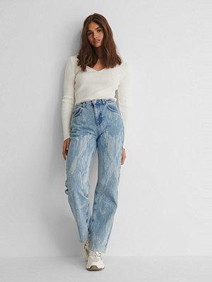 NA-KD Reborn Laser Tie Dye Straight Jeans blå