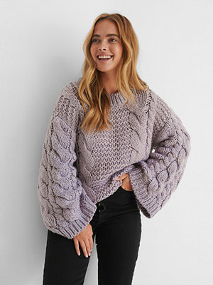 NA-KD Trend Chunky Cable Knitted Sweater lila