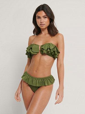 Bikini - NA-KD Swimwear Recycled Bikintrosa Med Hög Skärning Och Volang grön