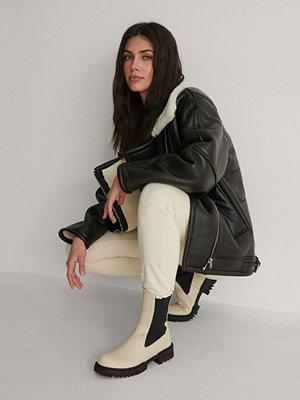 NA-KD Shoes Ankelboots I Läder beige