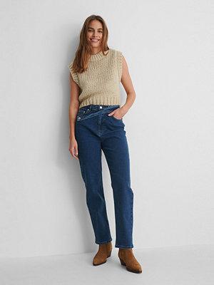 Jeans - NA-KD Reborn Raka Jeans Med Midjedetalj blå