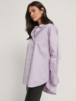 NA-KD Reborn Recycled Oversize Skjorta Med Ficka lila