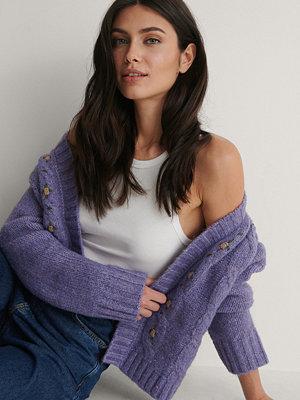 NA-KD Trend Stickad Cardigan lila
