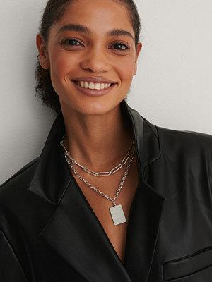 NA-KD Accessories smycke Halsband Med Kedja Och Platta silver